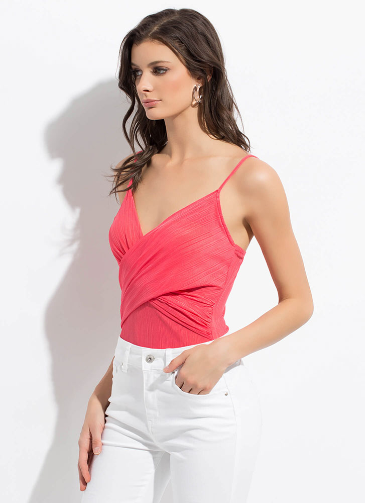 Wrap Me In Your Arms Draped Bodysuit CORAL (Final Sale)