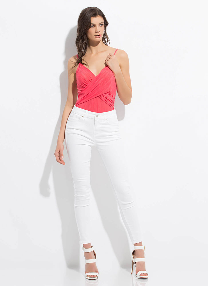 Wrap Me In Your Arms Draped Bodysuit CORAL