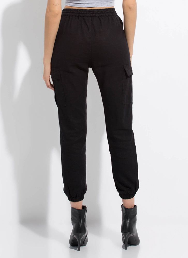 Laid-Back Weekend Linen Cargo Joggers BLACK