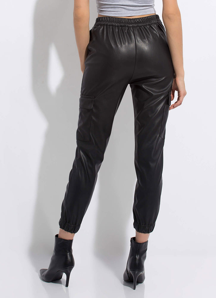 Sidecar Moto Faux Leather Cargo Joggers BLACK