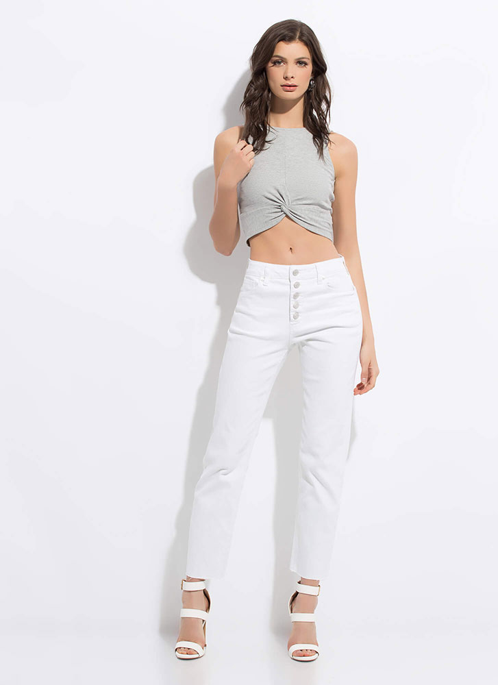 Tank With A Twist Knot-Front Crop Top HGREY
