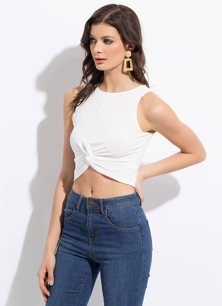 Tank With A Twist Knot-Front Crop Top WHITE