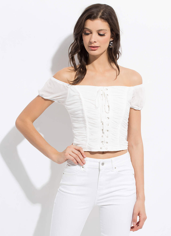 My Lady Lace-Up Shirred Off-Shoulder Top WHITE