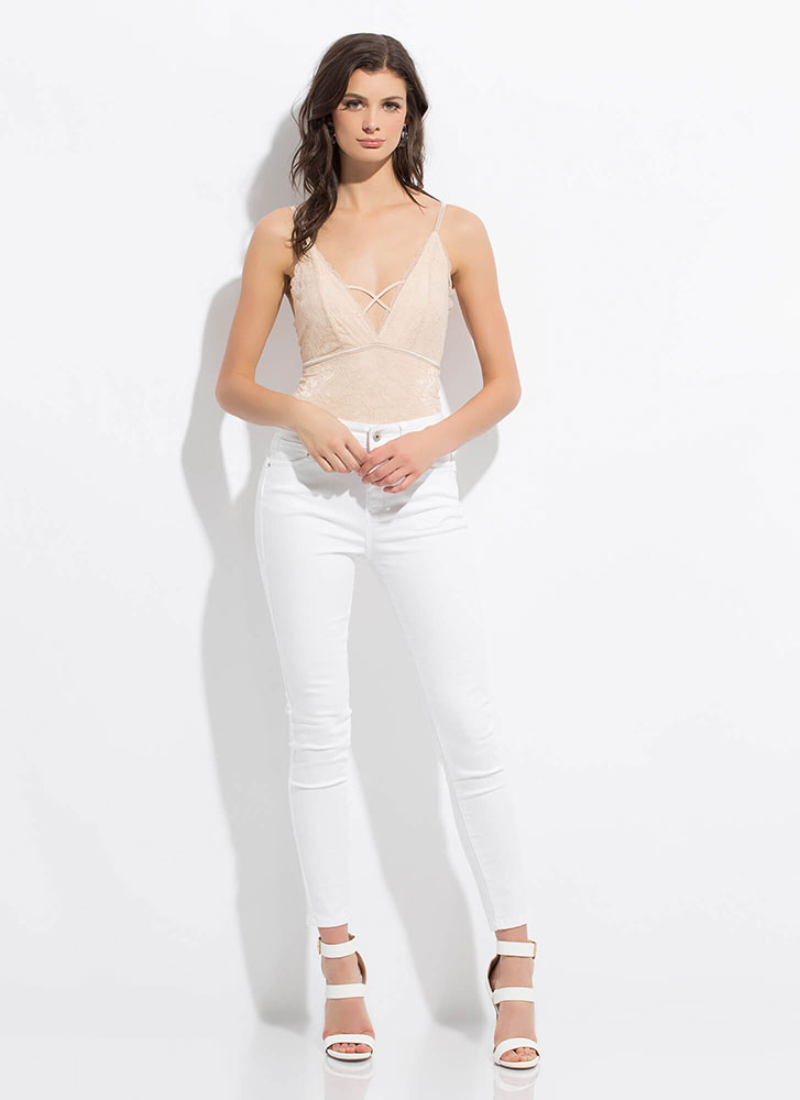 Sugar And Spice Strappy Lace Bodysuit NUDE