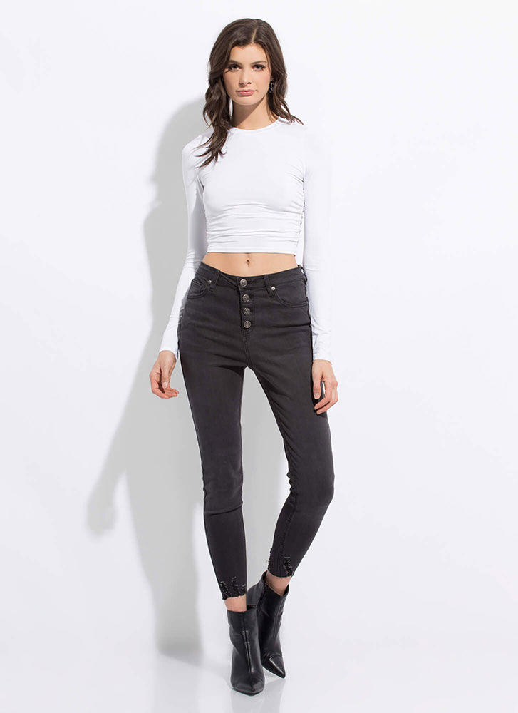Build A Better Basic Ruched Crop Top WHITE