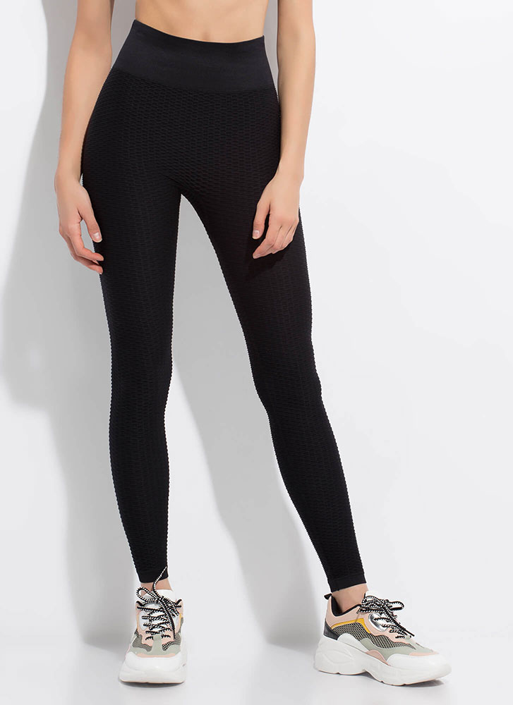 Workout Textured High-Waisted Leggings BLACK