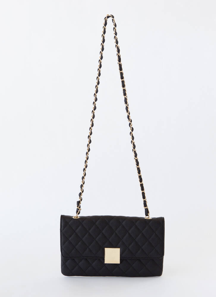 First Class Quilted Envelope Clutch BLACK