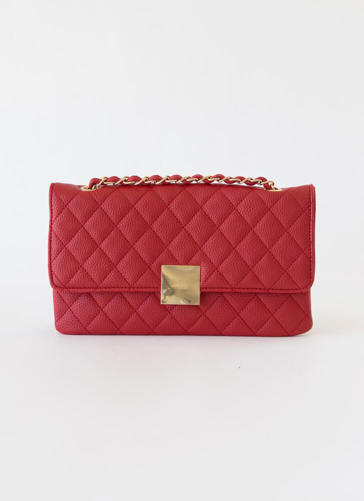 First Class Quilted Envelope Clutch RED