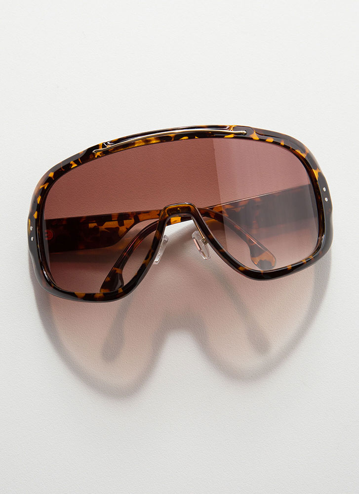 Shield With A Kiss Goggle Sunglasses BROWN