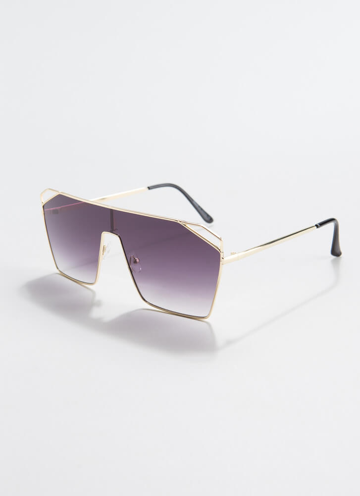 Corner Office Cut-Out Sunglasses BROWN