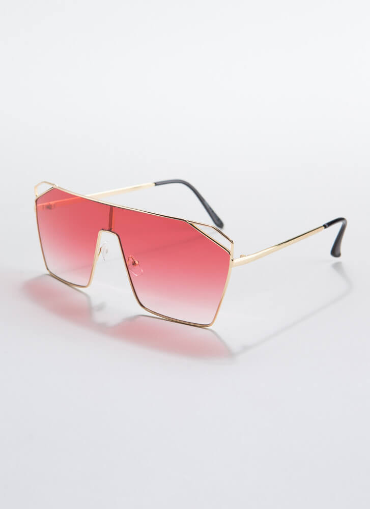 Corner Office Cut-Out Sunglasses RED