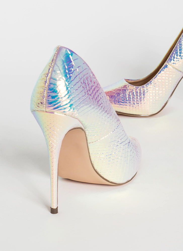 Mermaid Pointy Iridescent Scaled Pumps PINK