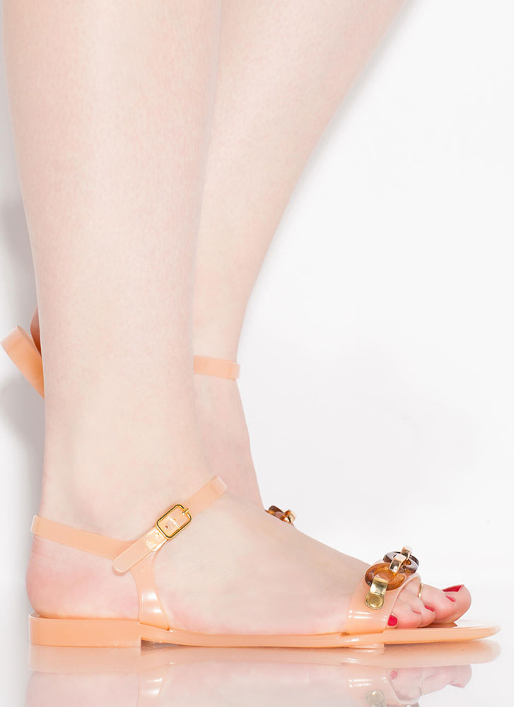 Missing Links Chain Accent Jelly Sandals BLUSH