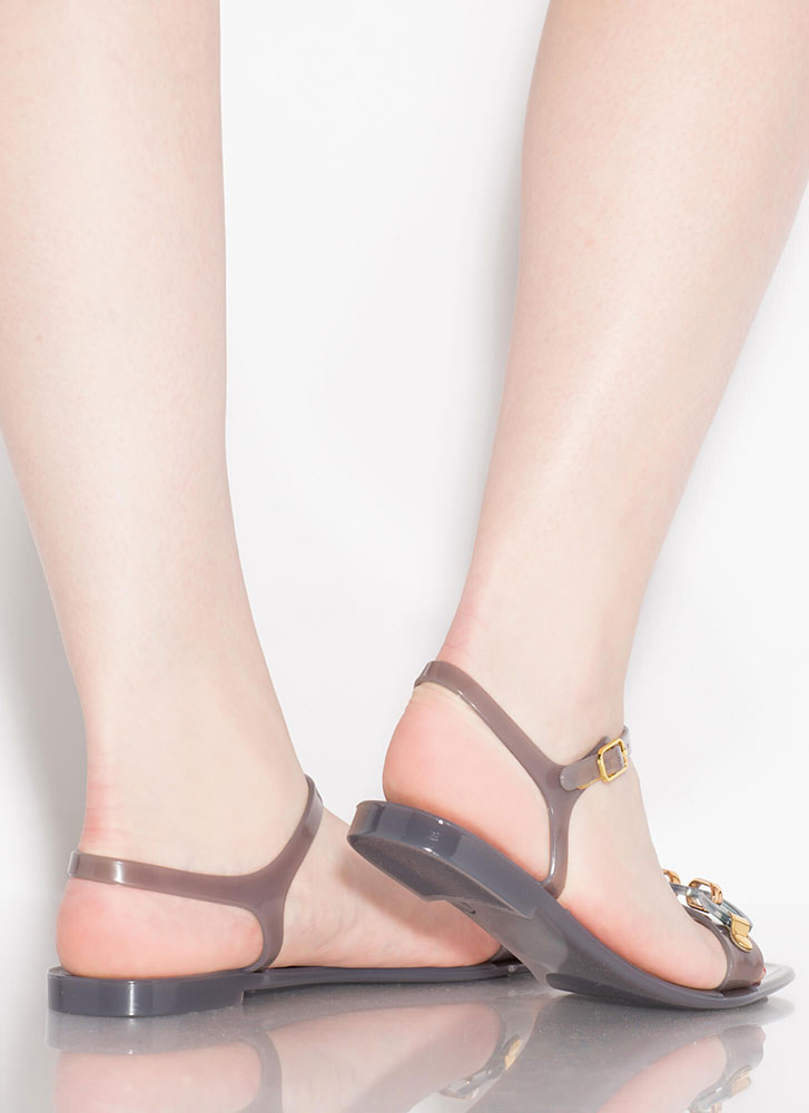 Missing Links Chain Accent Jelly Sandals GREY