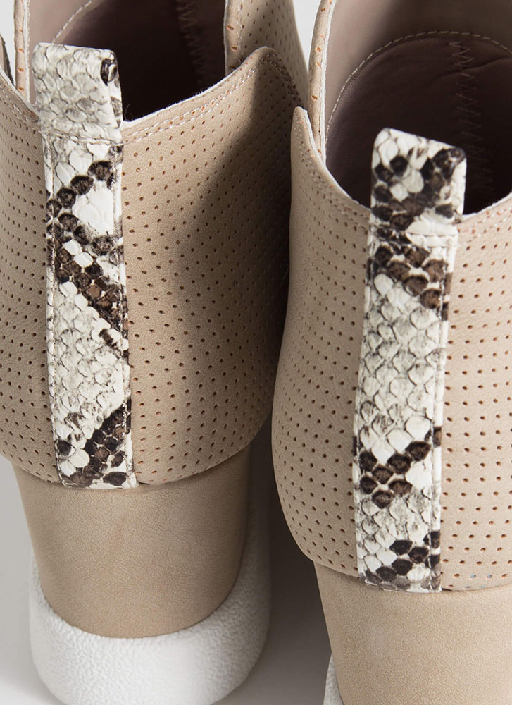 Wild Side Perforated Wedge Booties LTTAUPE