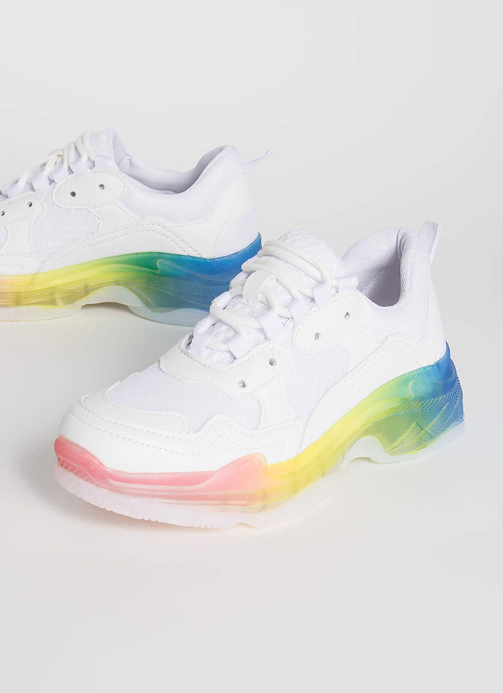 Sole Searching Rainbow Mesh Sneakers WHITE