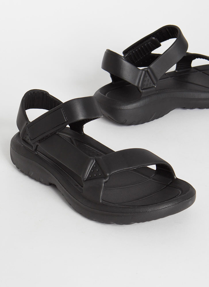 Weekend Trek Faux Harness Sandals BLACK