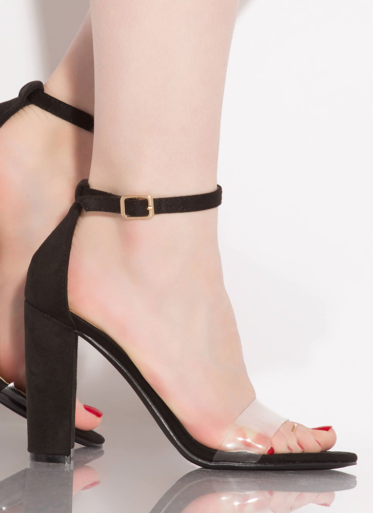 Love Affair Clear Strap Chunky Heels BLACK