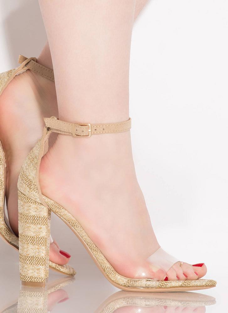 Love Affair Clear Strap Chunky Heels NATURAL