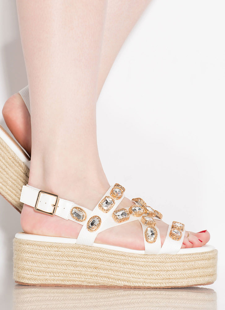 Gem Class Jewel Strap Wedge Sandals WHITE