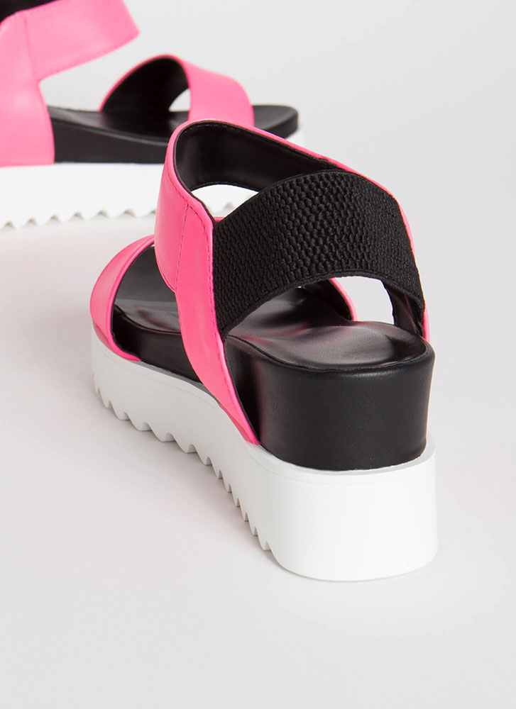 Big Time Faux Leather Wedge Sandals NPINK