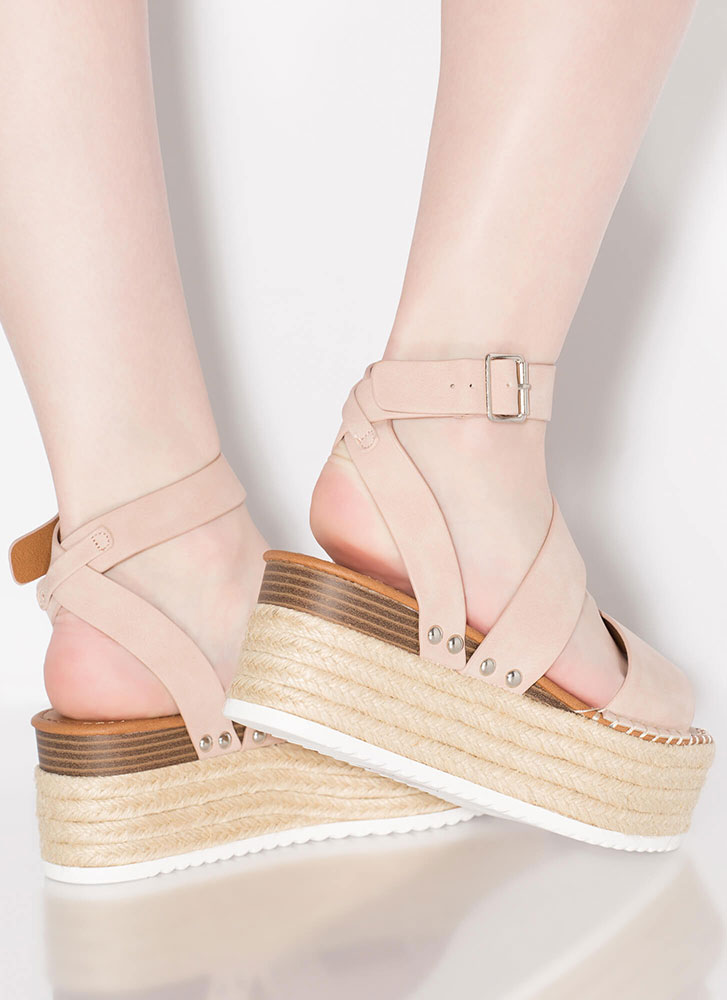 Braidy Bunch Faux Nubuck Wedge Sandals MAUVE
