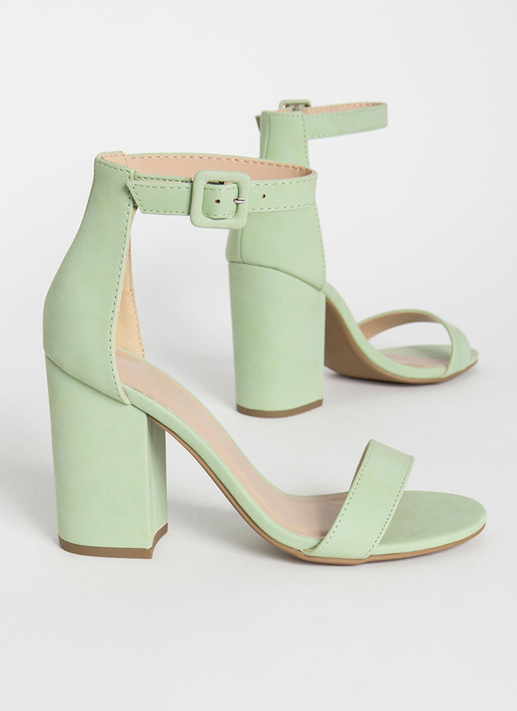 Just The Thing Chunky Ankle Strap Heels MINT