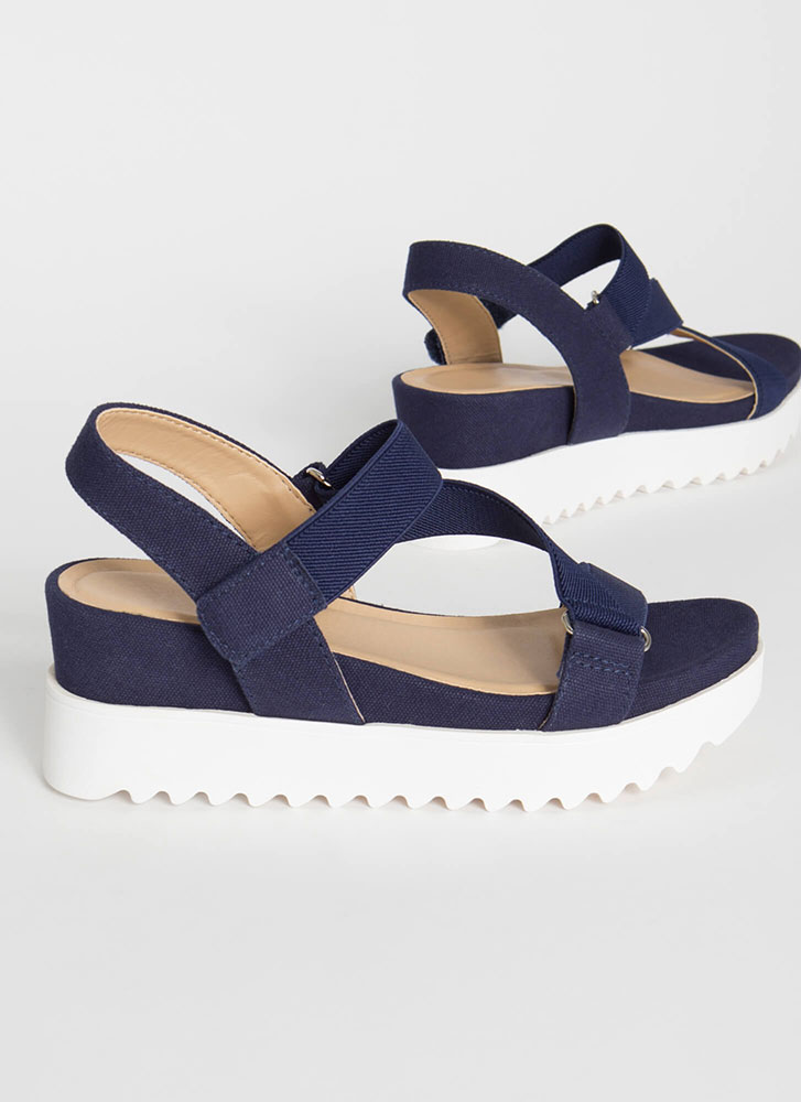 Adventure Strappy Canvas Wedge Sandals BLUE