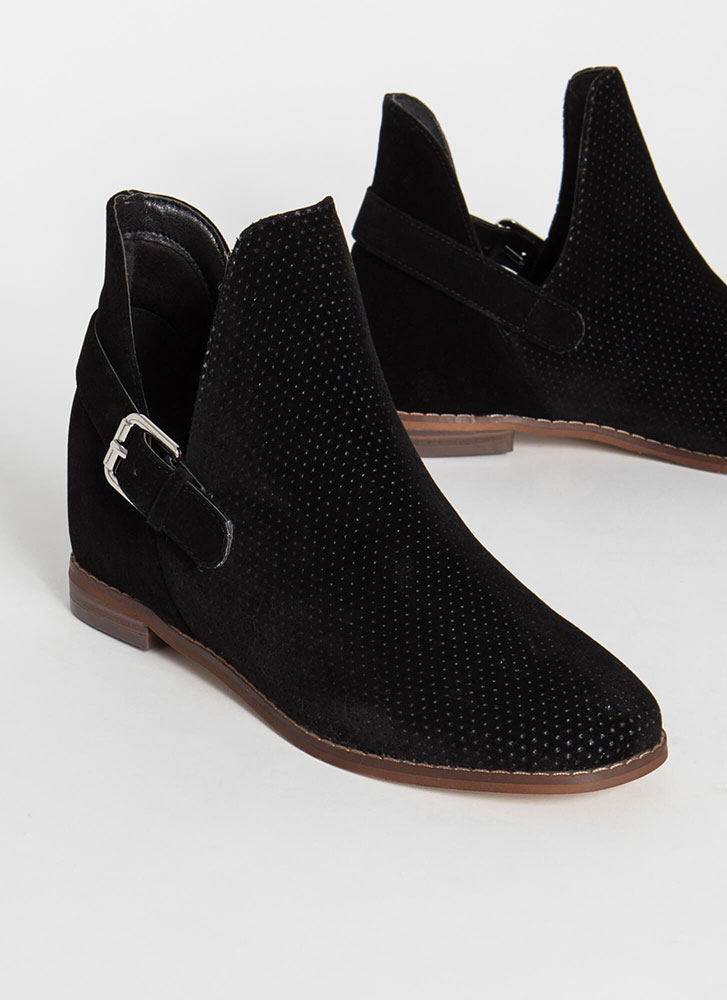 Side Kicks Buckled Cut-Out Booties BLACK
