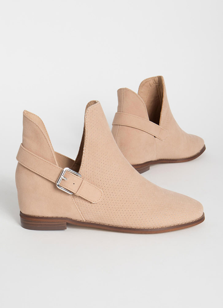 Side Kicks Buckled Cut-Out Booties TAUPE