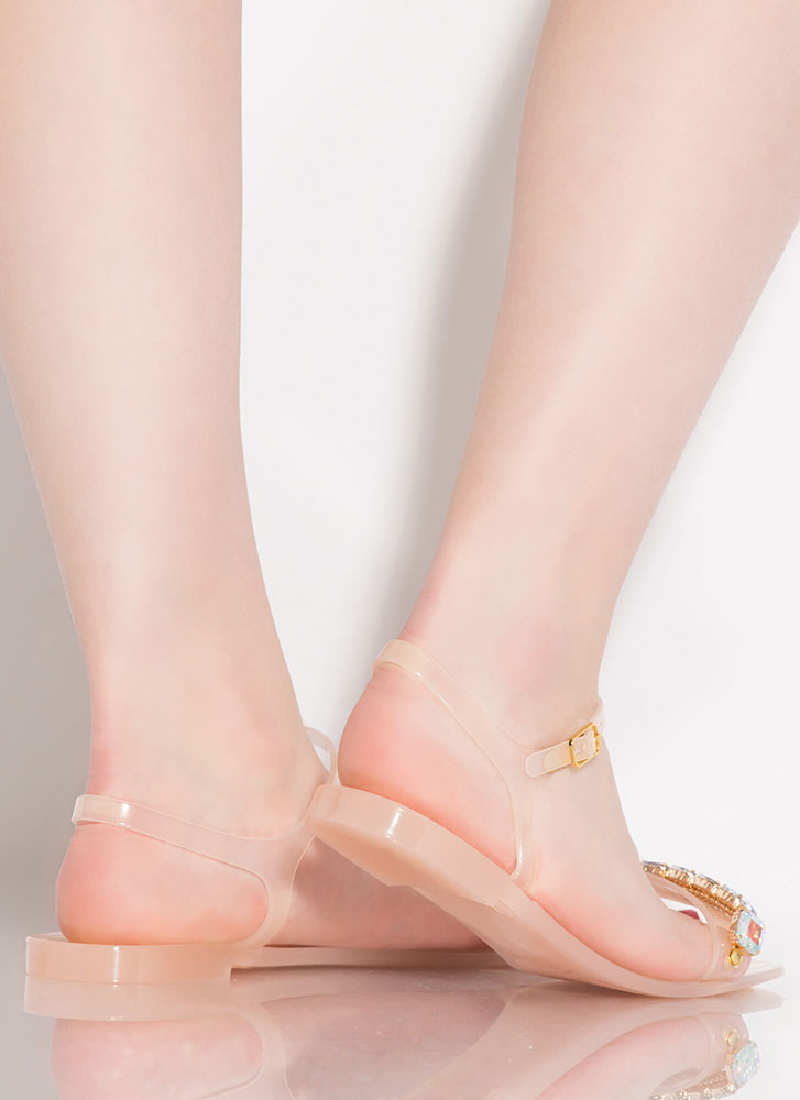 Gleam In My Eye Jeweled Jelly Sandals NUDE
