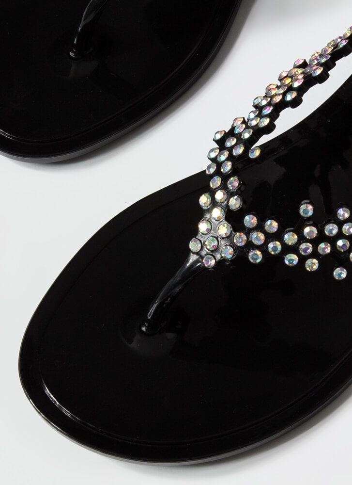 Sprig Of Leaves Jeweled Jelly Sandals BLACK