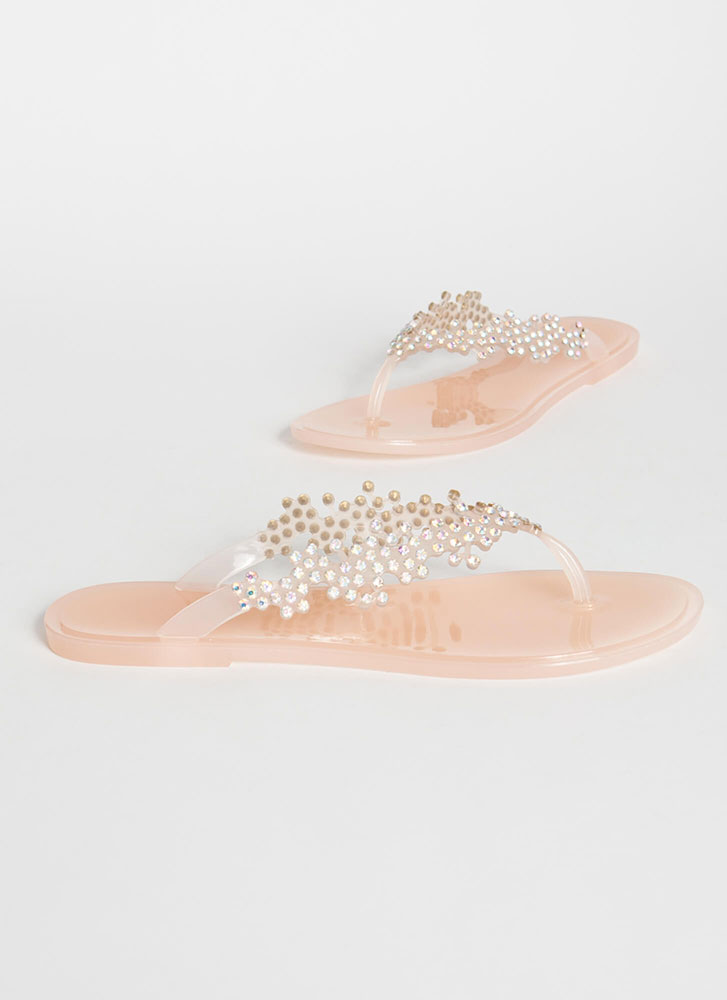 Sprig Of Leaves Jeweled Jelly Sandals NUDE