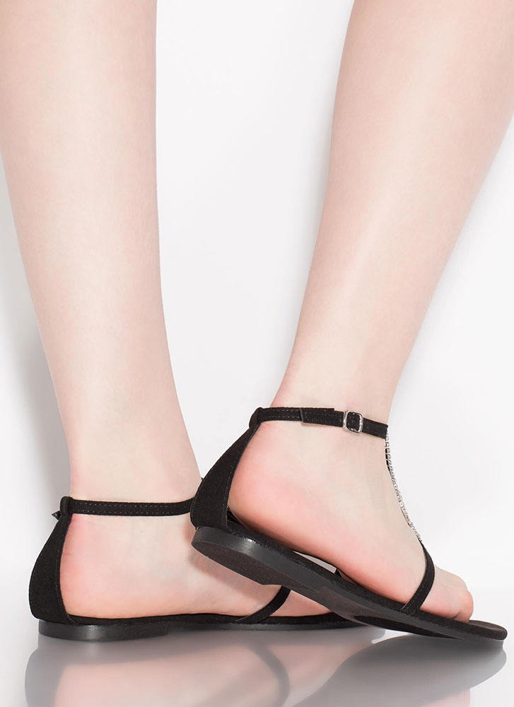 More Diamonds Strappy Faux Suede Sandals BLACK