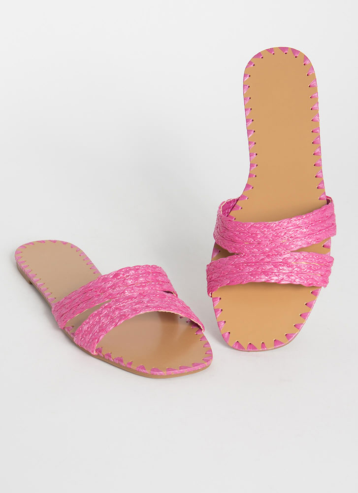 Summer Fiesta Raffia Slide Sandals FUCHSIA