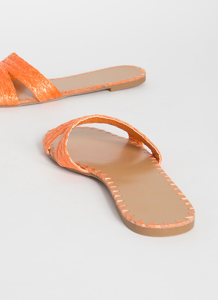 Summer Fiesta Raffia Slide Sandals ORANGE