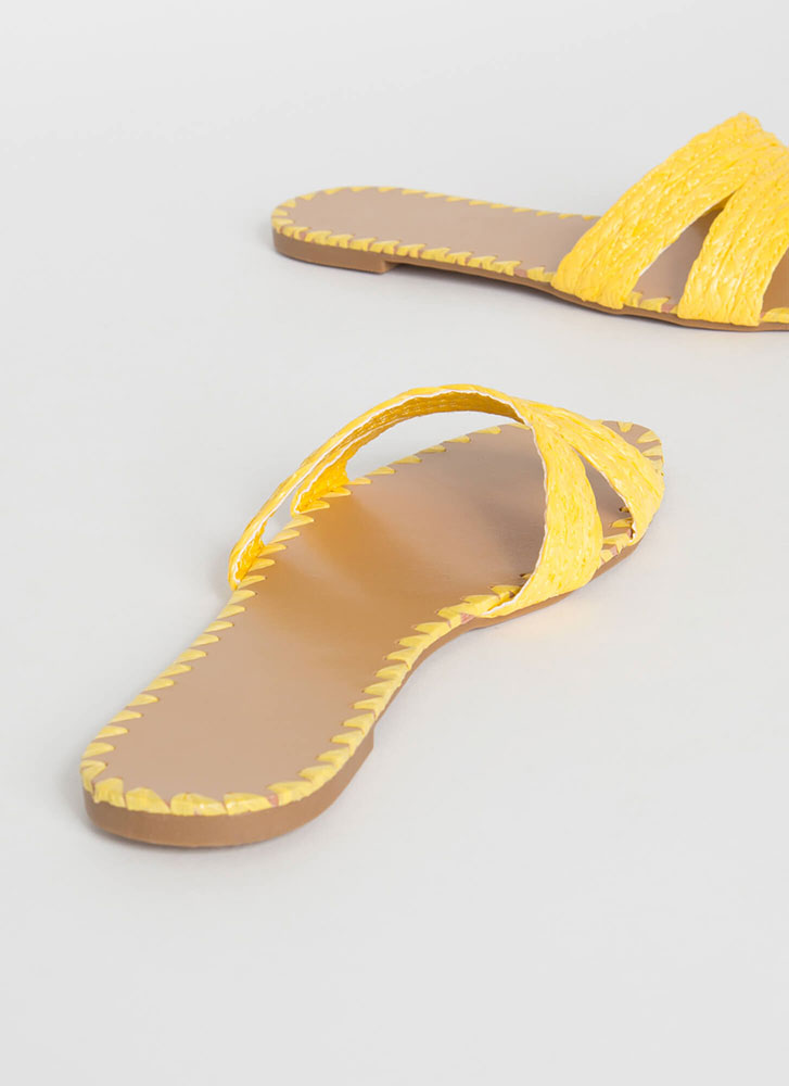 Summer Fiesta Raffia Slide Sandals YELLOW