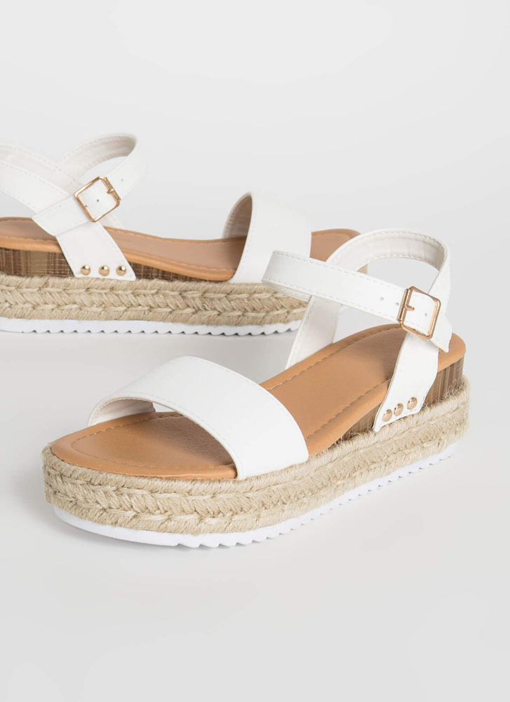 Fun Frolic Braided Wedge Sandals WHITE (Final Sale)