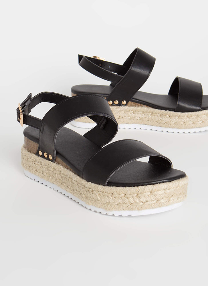 Adventures Await Braided Wedge Sandals BLACK