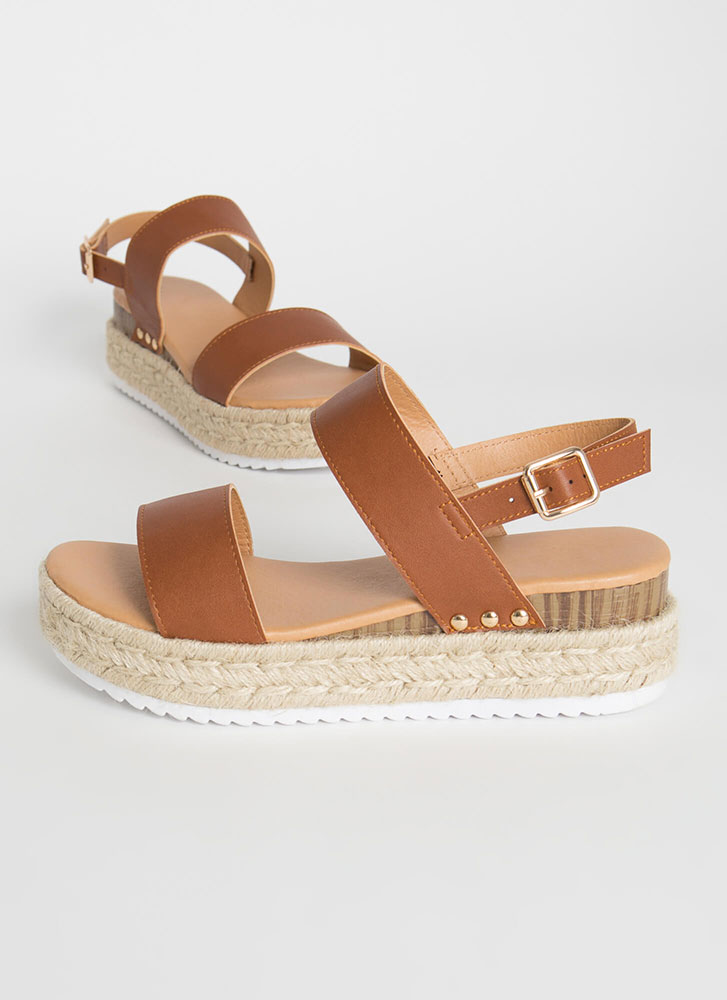 Adventures Await Braided Wedge Sandals WHISKEY
