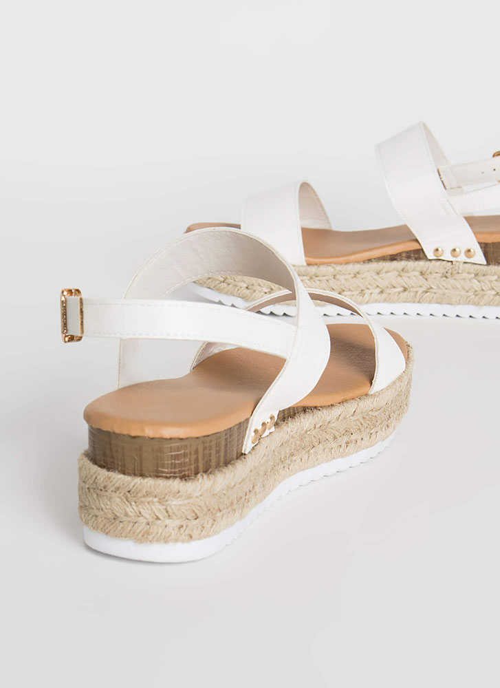 Adventures Await Braided Wedge Sandals WHITE