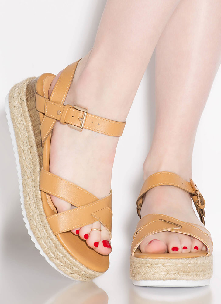 Escapade Strappy Braided Wedge Sandals CAMEL