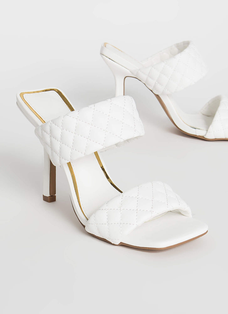 Something Special Quilted Mule Heels WHITE
