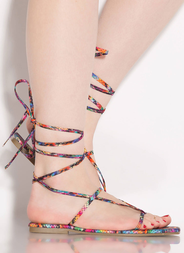 Laces Wild Snake Print Thong Sandals MULTI