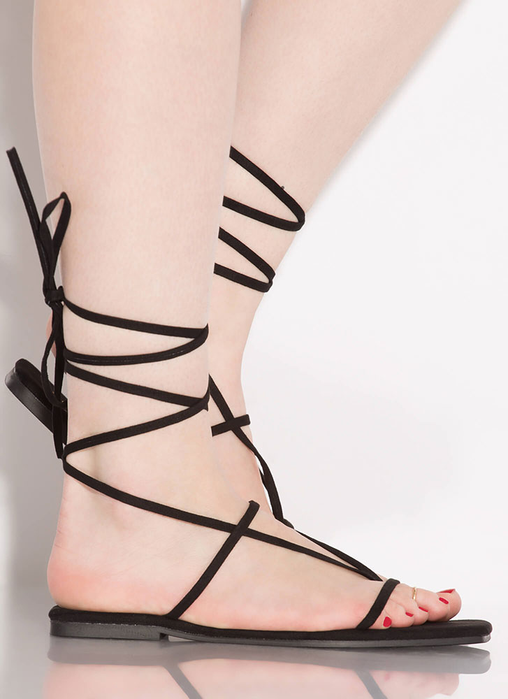 Laces Wild Faux Suede Thong Sandals BLACK