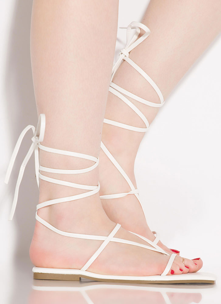 Laces Wild Faux Suede Thong Sandals WHITE