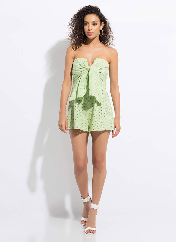 All Eyelets On Me Strapless Tied Romper MINT