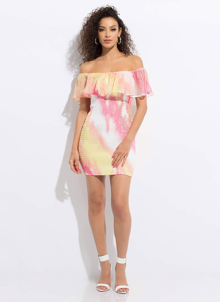 It's Tie-Dye For Off-Shoulder Minidress PINK