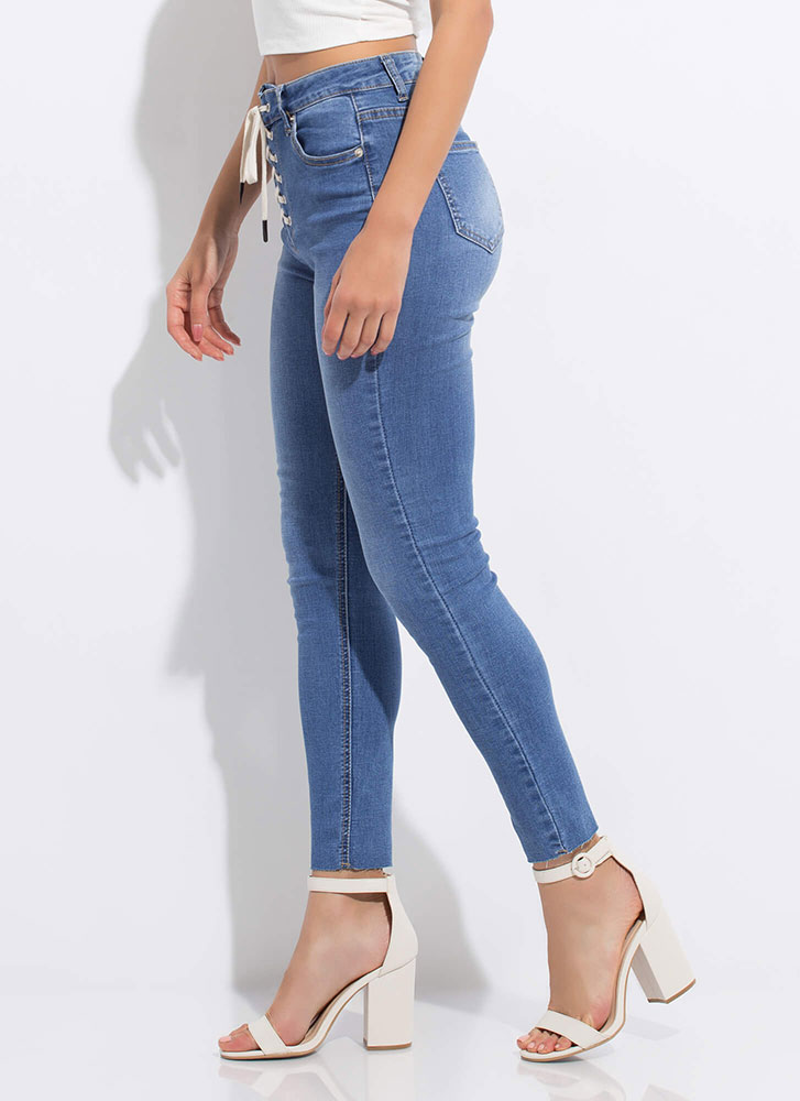 So Fly High-Rise Lace-Up Skinny Jeans MEDBLUE