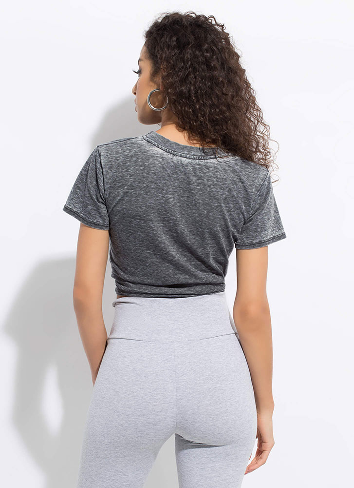 Tie Game Knotted Heathered Crop Top BLACK